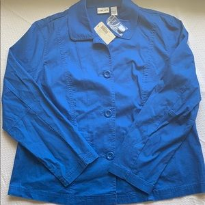 *NEW* Chico's Camden Cotton Haleigh Jacket Blue, 3